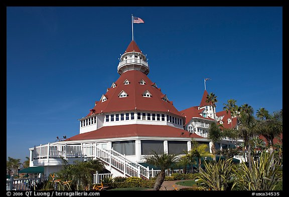 Main tower of hotel Del Coronado. San Diego, California, USA (color)