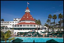 Swimming pool of hotel Del Coronado. San Diego, California, USA (color)