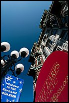 Gaslamp, signs, and facade of the Louis Bank of Commerce, Gaslamp quarter. San Diego, California, USA ( color)