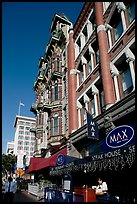 Gaslamp quarter street with historic buildings. San Diego, California, USA ( color)
