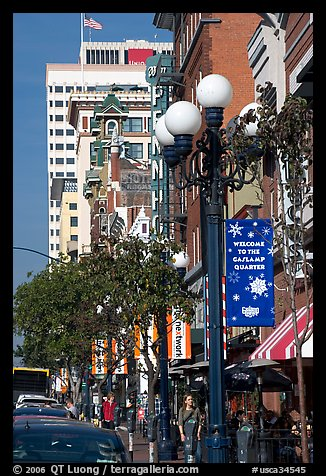 Gaslamp and street in the Gaslamp quarter. San Diego, California, USA (color)
