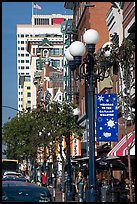Gaslamp and street in the Gaslamp quarter. San Diego, California, USA ( color)
