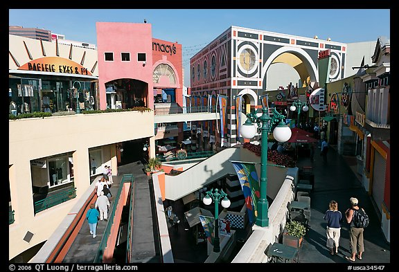 Horton Plaza shopping center by daylight. San Diego, California, USA (color)