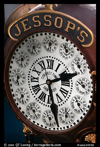 Detail of Jessops clock. San Diego, California, USA (color)