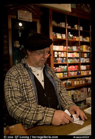 Clerk in Tobacco shop, Old Town. San Diego, California, USA (color)