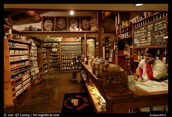 Man at the counter of Tea store,  Old Town. San Diego, California, USA (color)