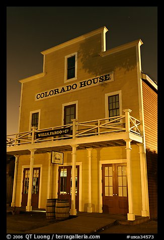Colorado House at night, Old Town State Historic Park. San Diego, California, USA (color)