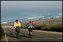 Bicyclists and ocean, Torrey Pines State Preserve. La Jolla, San Diego, California, USA (color)