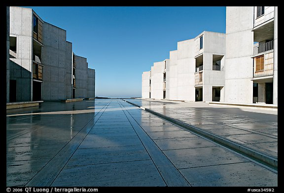Salk Institude, called architecture of silence and light by architect Louis Kahn. La Jolla, San Diego, California, USA (color)