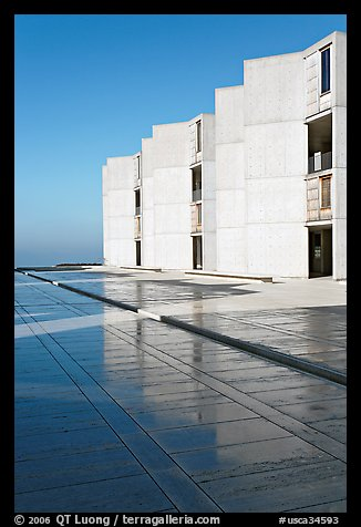 Cubist Laboratory blocks reflected in courtyard marble, Salk Institute. La Jolla, San Diego, California, USA (color)