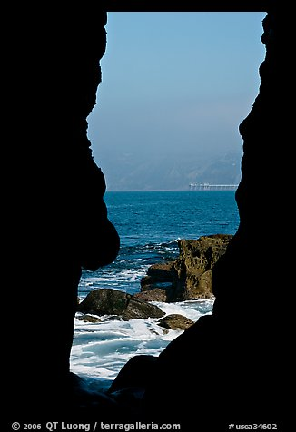 View through a seacave at the Cove. La Jolla, San Diego, California, USA (color)