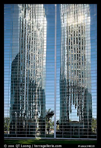 Bell tower reflected in Crystal Cathedral Facade. Garden Grove, Orange County, California, USA (color)