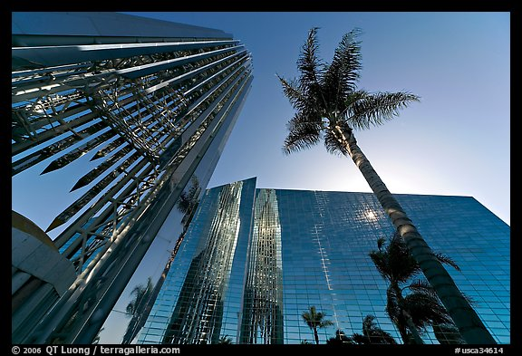 Bell tower and sun shining through the Crystal Cathedral Facade,. Garden Grove, Orange County, California, USA