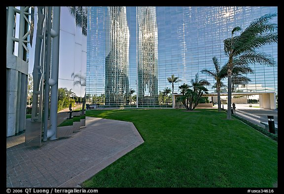 Reflections in  Crystal Cathedral, home of Televangelist Robert Schuller. Garden Grove, Orange County, California, USA (color)