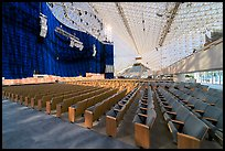 Interior of the Crystal Cathedral with set for the Glory of Christmas. Garden Grove, Orange County, California, USA