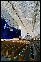 Interior of the Crystal Cathedral, with seating for 3000. Garden Grove, Orange County, California, USA (color)