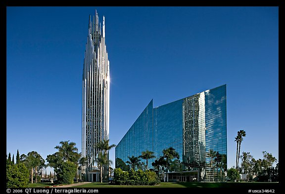 Crystal Cathedral, designed by architect Philip Johnson, afternoon. Garden Grove, Orange County, California, USA (color)