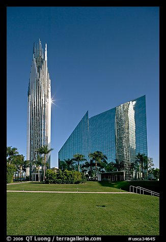 Crystal Cathedral and  bell tower, buildings made of glass for Televangelist Robert Schuller. Garden Grove, Orange County, California, USA (color)