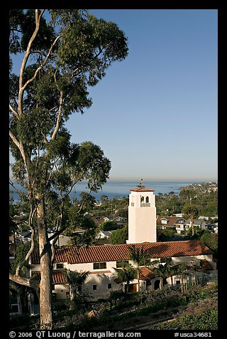 Eucalyptus and church in mission style. Laguna Beach, Orange County, California, USA (color)