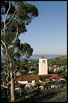 Eucalyptus and church in mission style. Laguna Beach, Orange County, California, USA ( color)