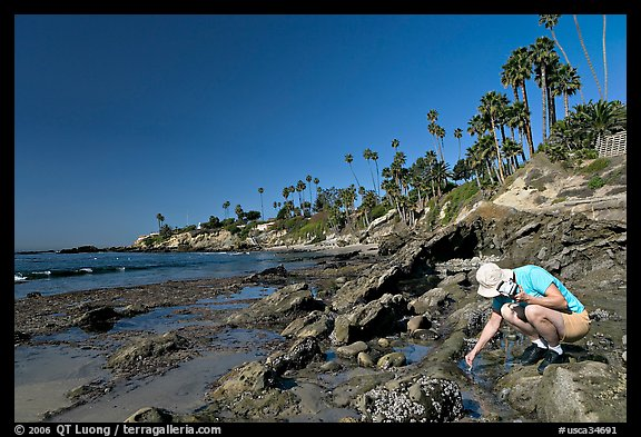 Women checking out a tidepool. Laguna Beach, Orange County, California, USA (color)