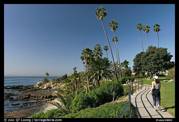 Woman jogging in Heisler Park, next to Ocean. Laguna Beach, Orange County, California, USA (color)