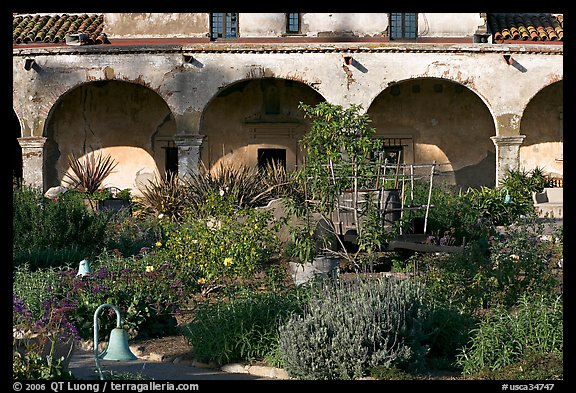 Garden in the entrance courtyard. San Juan Capistrano, Orange County, California, USA (color)