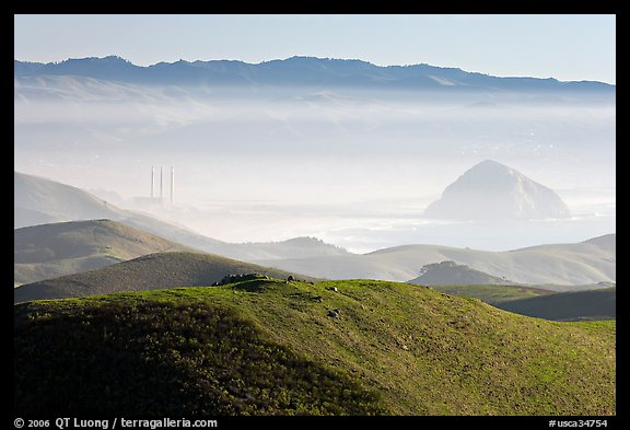 Power plant and Morro Rock seen from hills. Morro Bay, USA (color)