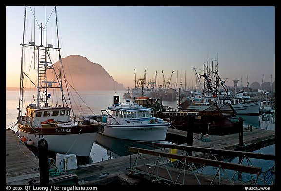 Harbor and Morro Rock, sunset. Morro Bay, USA (color)