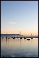 Yachts reflected in Morro Bay harbor, sunset. Morro Bay, USA (color)