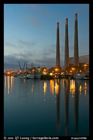 Power station reflected in harbor, dusk. Morro Bay, USA (color)