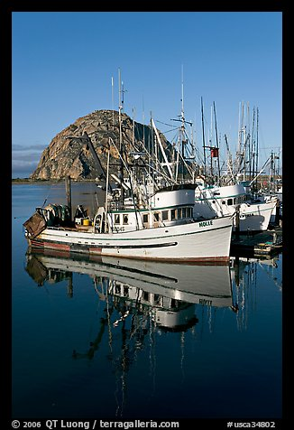 Fishing boats reflected in harbor,  and Morro Rock, early morning. Morro Bay, USA (color)