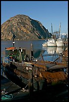 Dredge boat and Morro Rock. Morro Bay, USA (color)