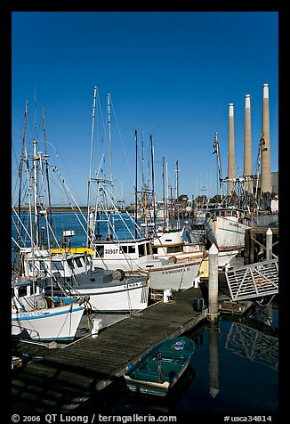 Fishing boats and power plant. Morro Bay, USA (color)