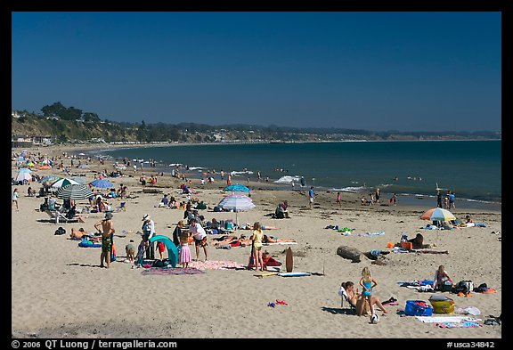 Beachgoers, Capitola. Capitola, California, USA (color)