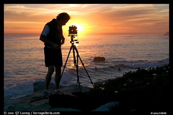 Picture Photo Photographer And Large Format Camera On Tripod At Sunset Santa Cruz California USA