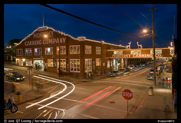 Monterey Canning Company building at night. Monterey, California, USA (color)