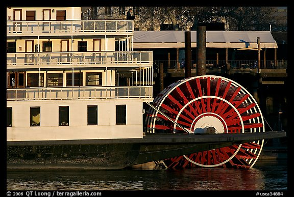 Paddle Wheel of the steamer  Delta King. Sacramento, California, USA (color)