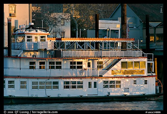 Last light on the Spirit of Sacramento riverboat. Sacramento, California, USA