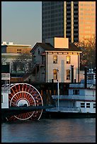 Paddle Steamers, historic house, and high rise building. Sacramento, California, USA (color)