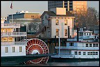 Riverboats Delta King and Spirit of Sacramento, modern and old buildings. Sacramento, California, USA (color)
