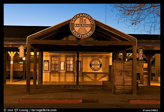 Southern Railroad station at dusk. Sacramento, California, USA (color)