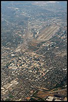 Aerial view of downtown and international airport. San Jose, California, USA (color)