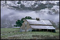 Barn with fresh dusting of snow. San Jose, California, USA (color)