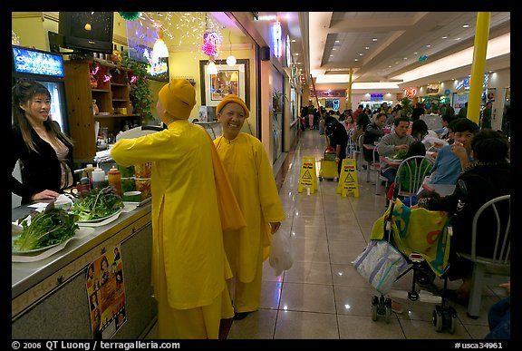 Buddhist nuns in the foot court of the Grand Century mall. San Jose, California, USA (color)
