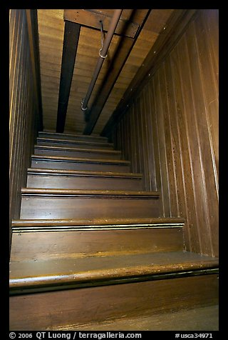 Staircase leading to closed ceiling. Winchester Mystery House, San Jose, California, USA (color)