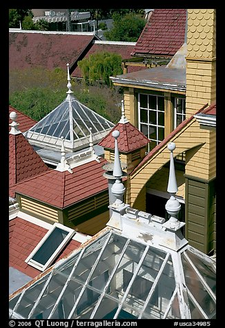Roofs of some of the 160 rooms. Winchester Mystery House, San Jose, California, USA (color)