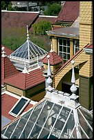 Roofs of some of the 160 rooms. Winchester Mystery House, San Jose, California, USA ( color)