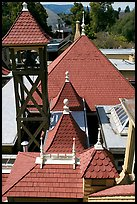 Rooftop detail. Winchester Mystery House, San Jose, California, USA ( color)