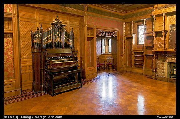 Ballroom and organ. Winchester Mystery House, San Jose, California, USA (color)